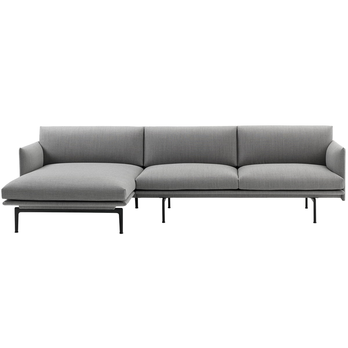 Muuto - Outline 3-Seater Sofa with Left Chaise Longue, grey (Fiord 151) /  black (RAL 9017)