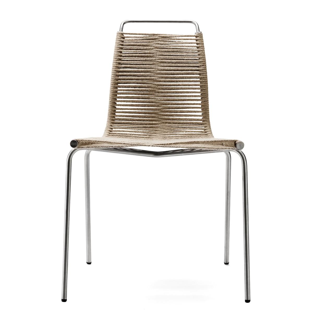 Carl Hansen Pk1 Indoor Chair Chrome Plated Steel Nature Halyard