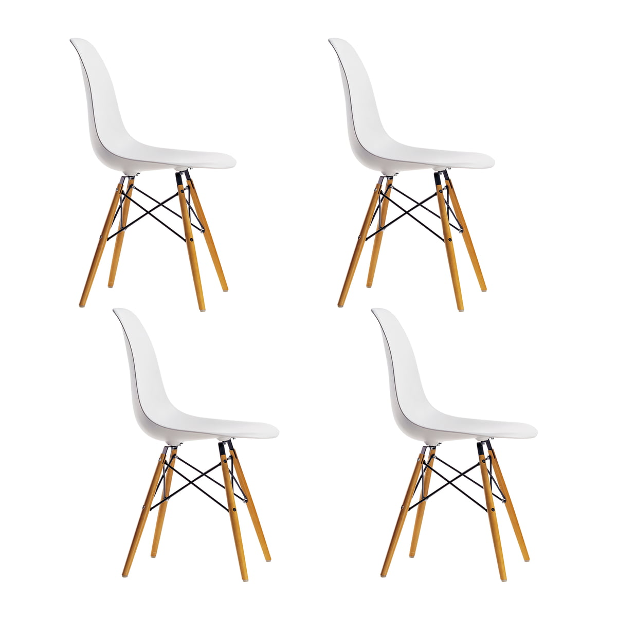 Marvelous Vitra Promotion Set Eames Plastic Side Chair Dsw Set Of 4 Maple Yellowish White Felt Glider White Ocoug Best Dining Table And Chair Ideas Images Ocougorg