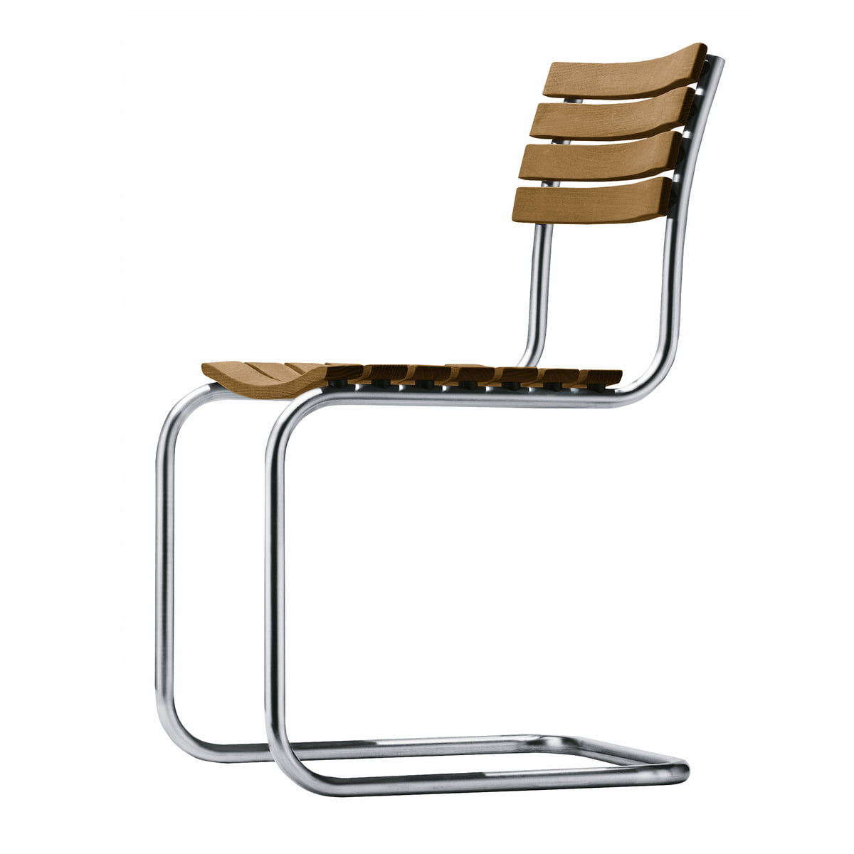 Thonet - S 9 outdoor chair, frame stainless steel round tube / seat and  back iroko oiled