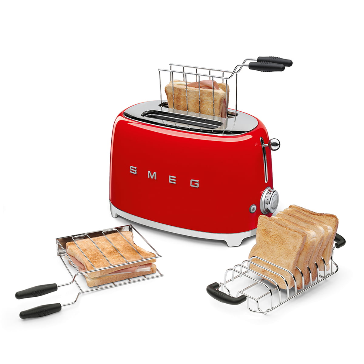 Smeg - Bread roll roasting attachment for tsf01/tsf03 toaster, stainless  steel