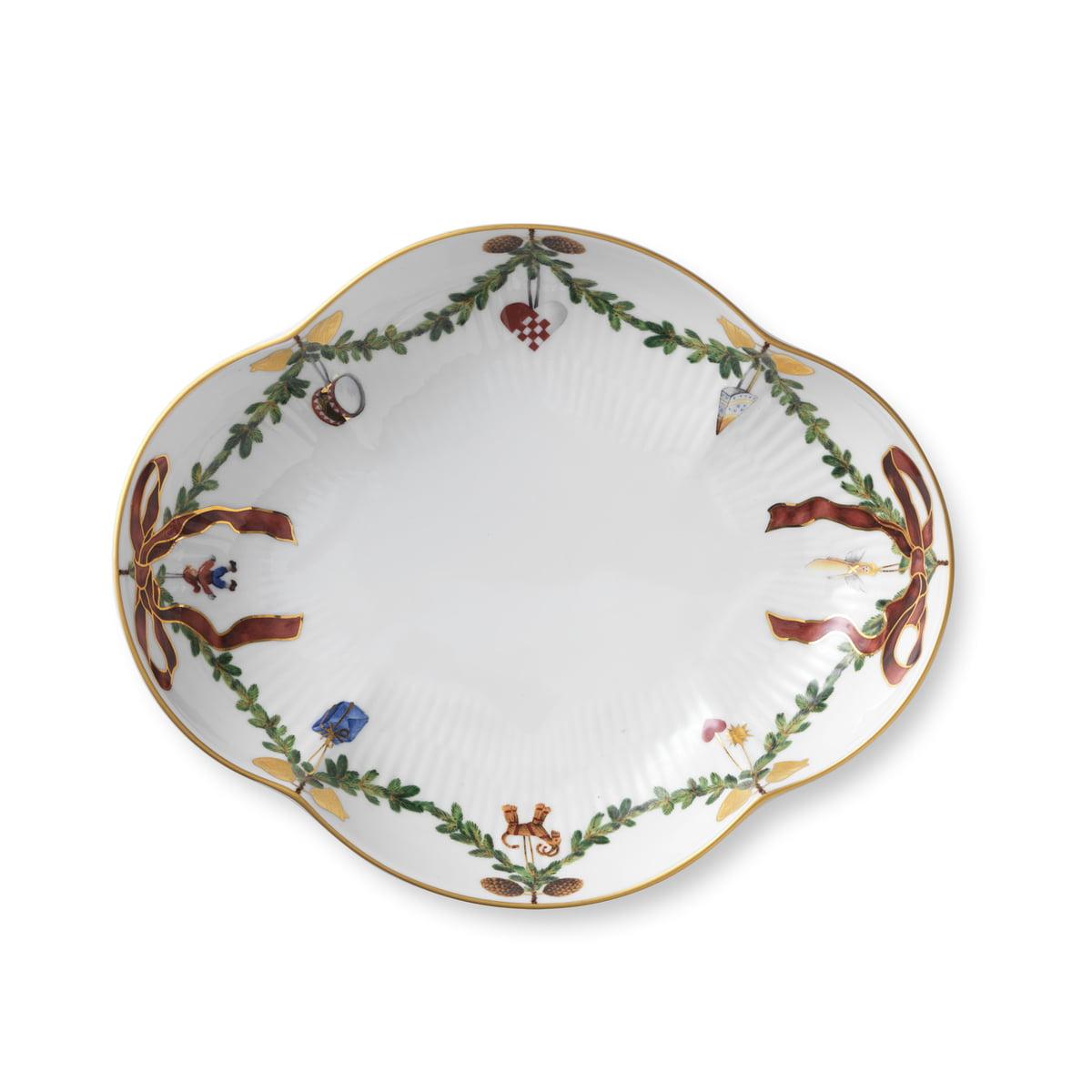 Christmas Bowls And Platters.Royal Copenhagen Star Fluted Christmas Platter 22 Cm