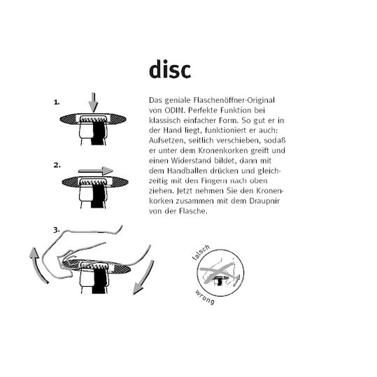 instructions to the disc bottle opener