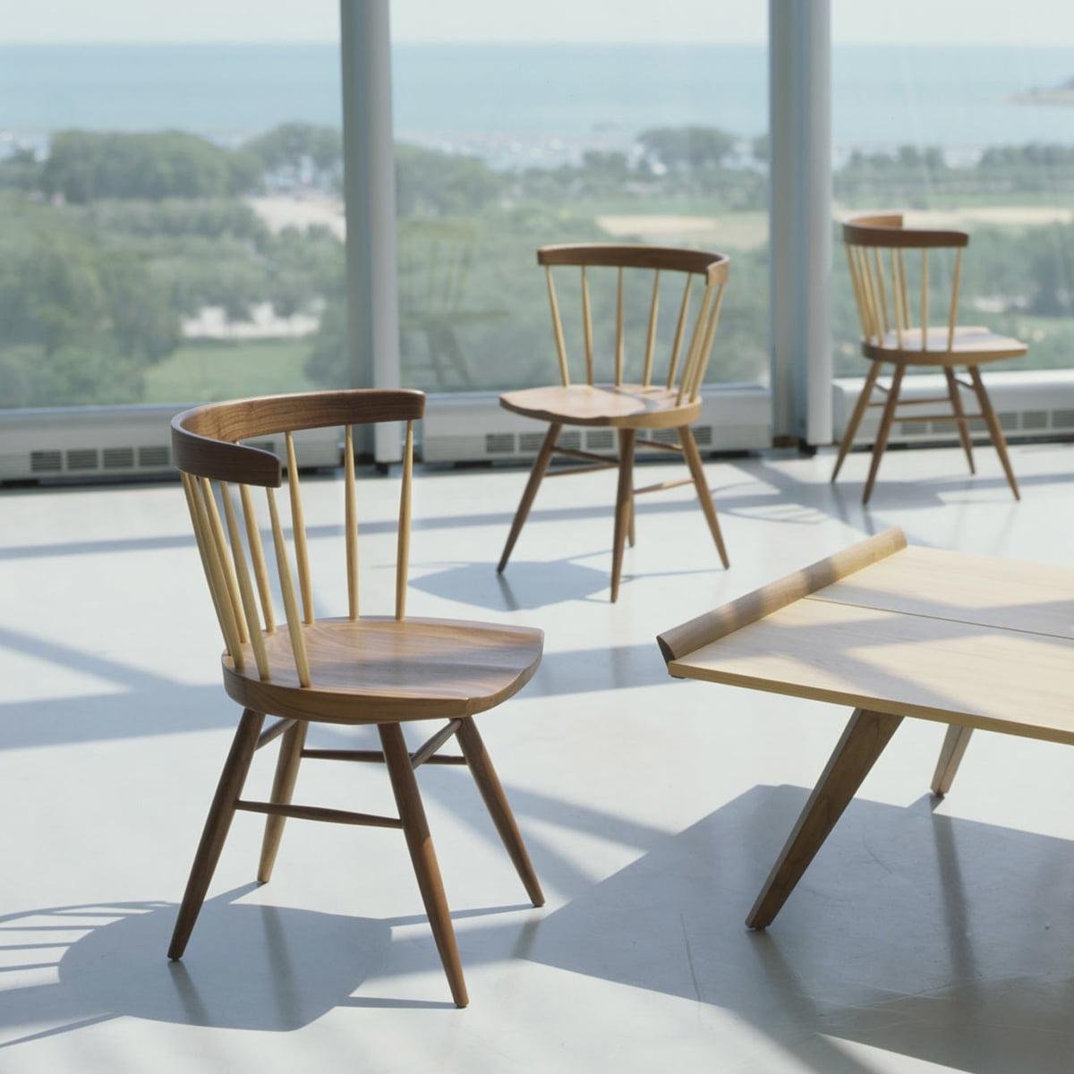 Knoll   Straight Chair, Walnut Wood