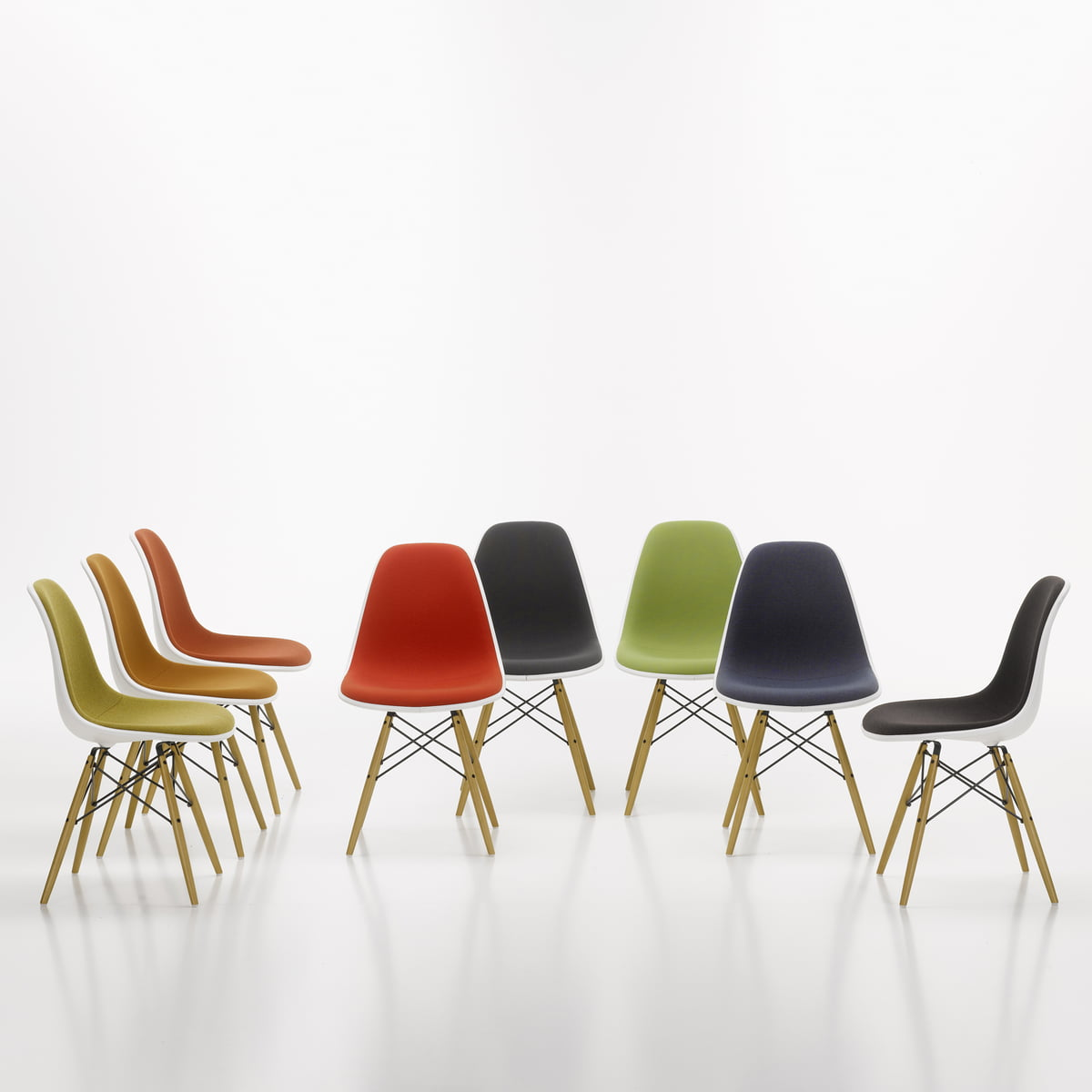 Vitra   Eames Plastic Side Chair DSW, Completely Upholstered