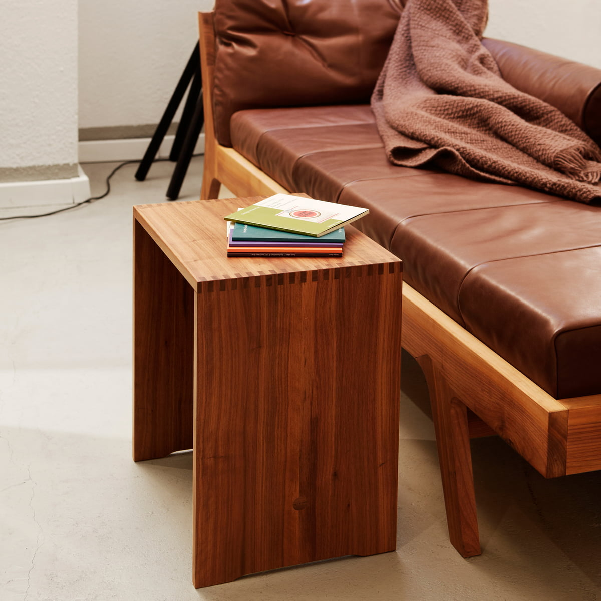 the ulmer stool walnut by max bill. Black Bedroom Furniture Sets. Home Design Ideas