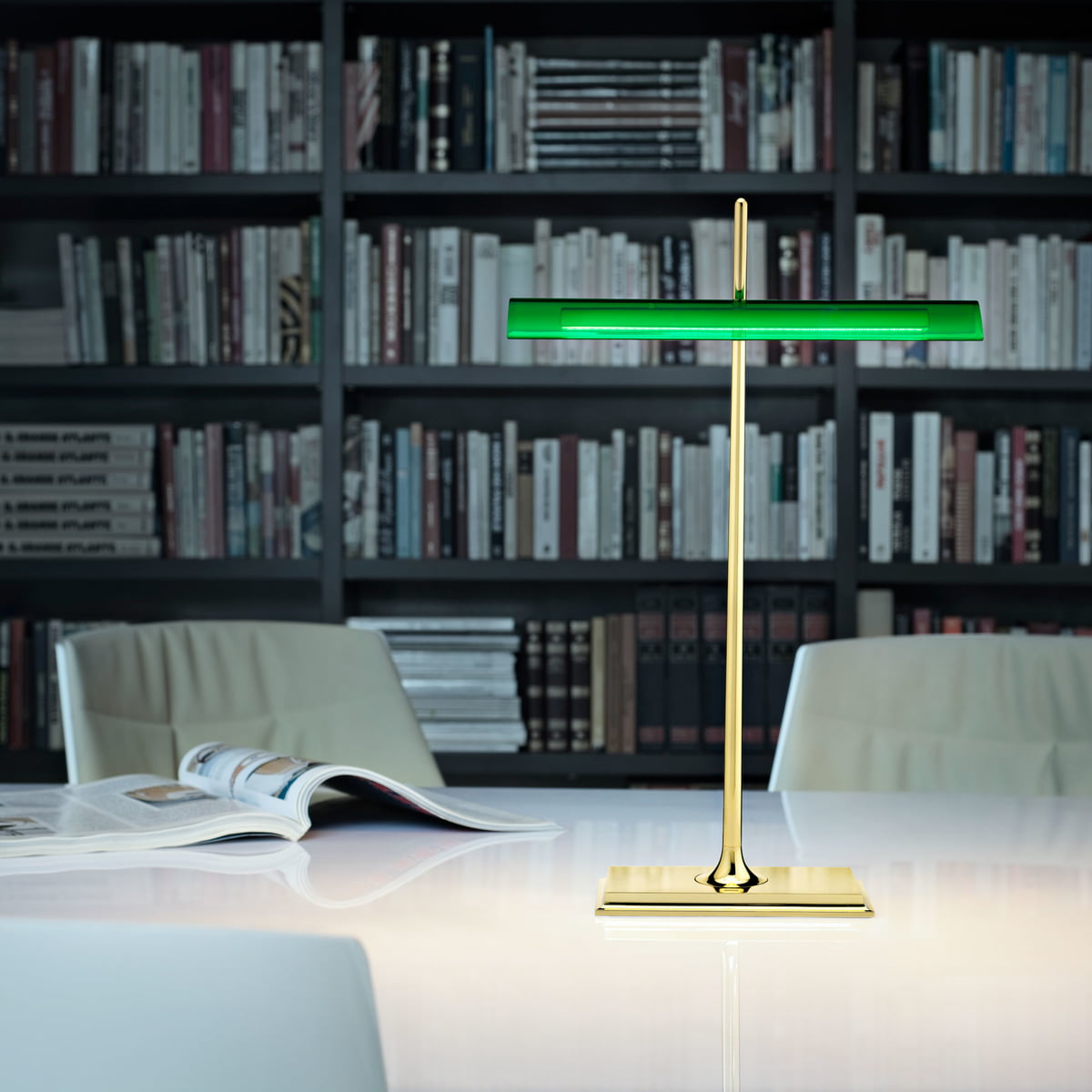 Flos   Goldman Table Lamp, Solid Brass Base, Green Shade, Office