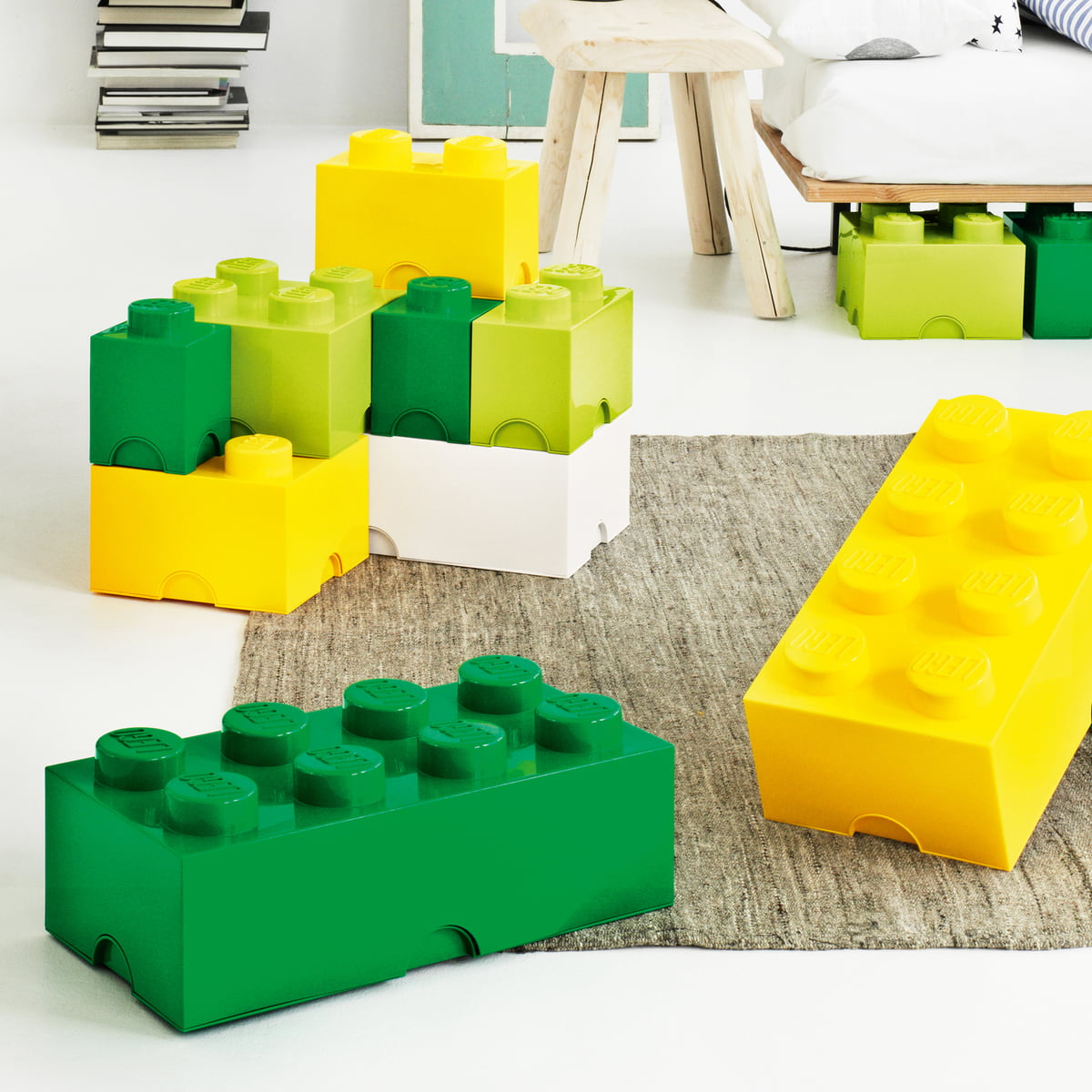 Lego   Storage Brick, Yellow, Green