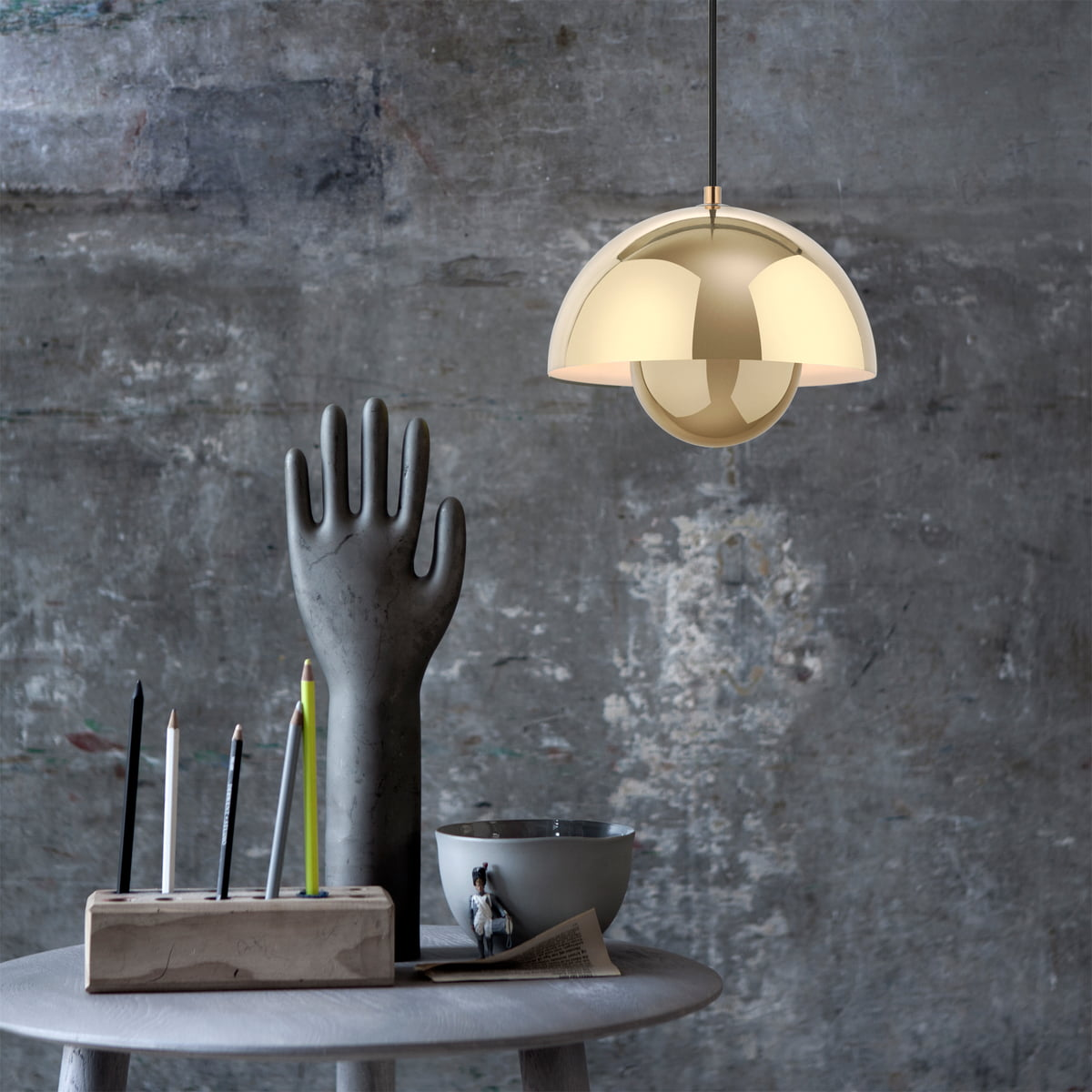 U0026Tradition   FlowerPot Pendant Lamp VP1 In Polished Brass And The Hoof Side  Table SW1 By