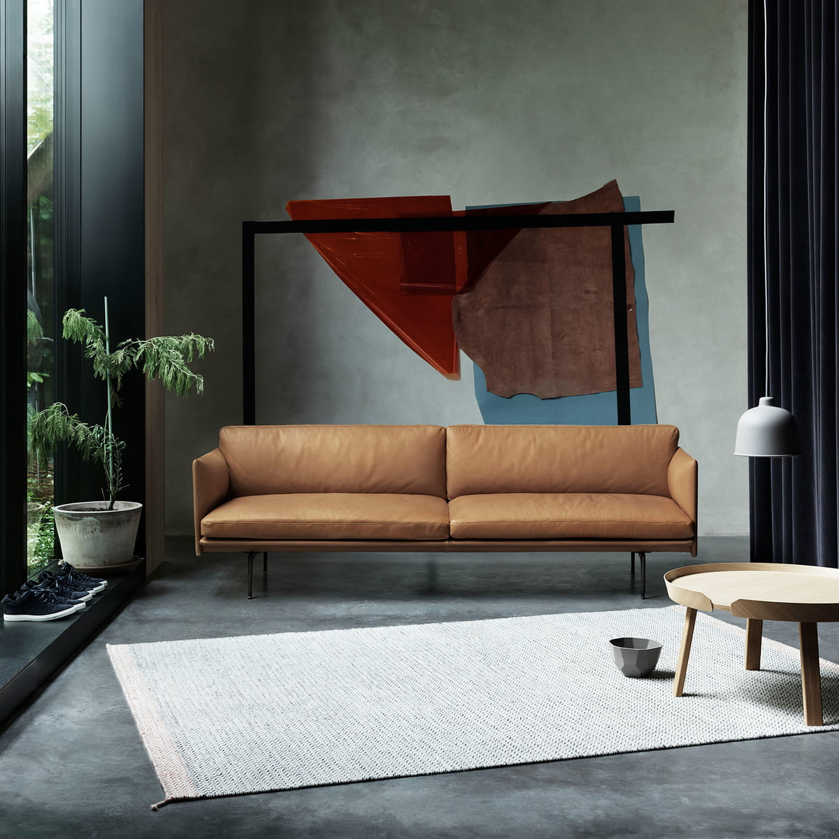 Outline Sofa 2 Seater Leather By Muuto