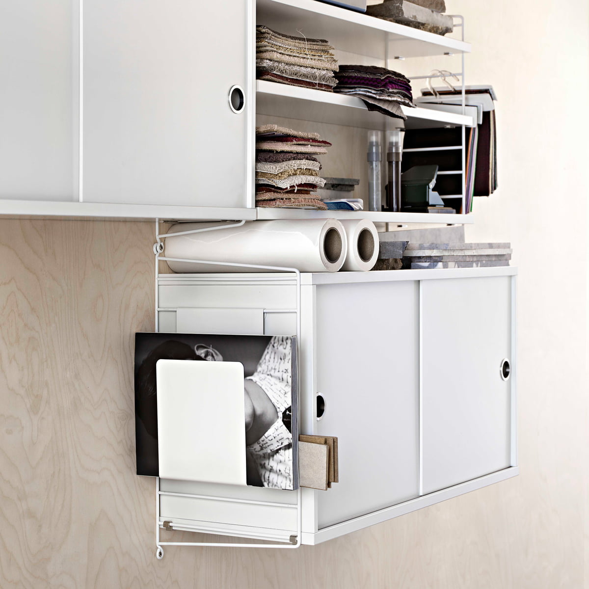 Cabinet Module With Sliding Doors By String In White With Magazine Rack