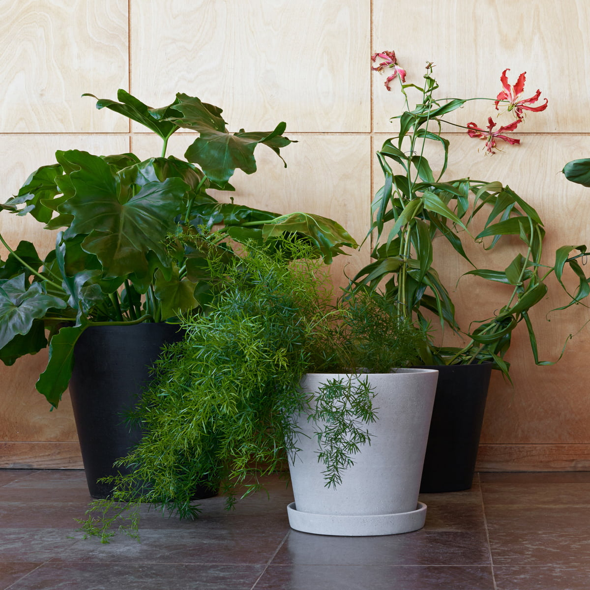 The Hay Flower Pot With Saucer L And Xl In Black Grey
