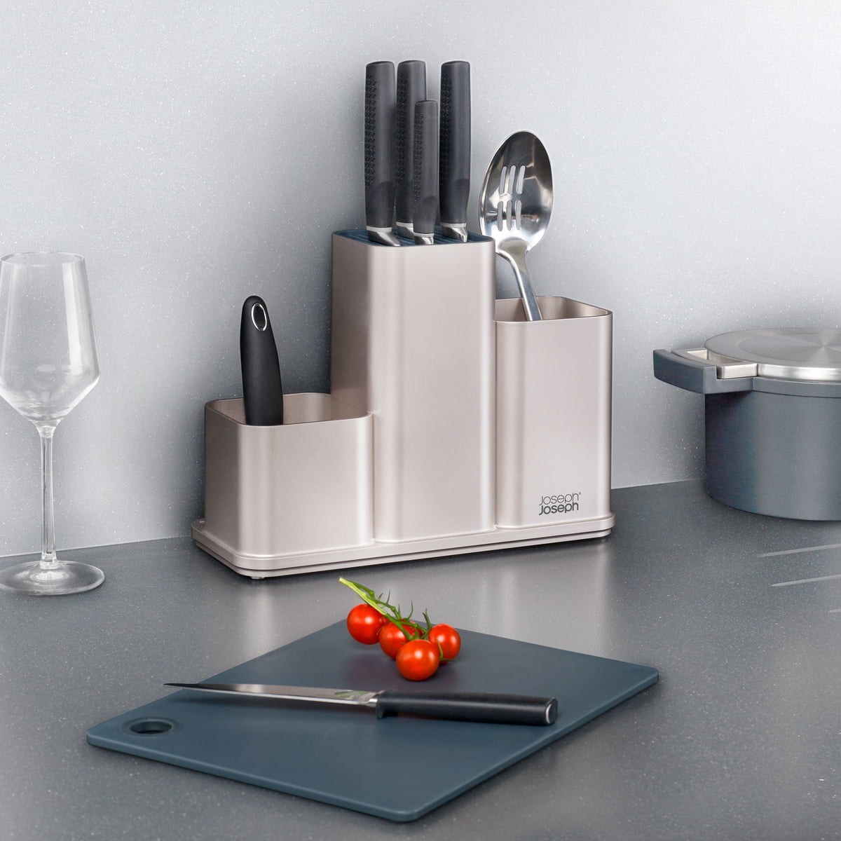The Joseph Joseph   CounterStore Kitchen Worktop Organiser With Chopping  Board