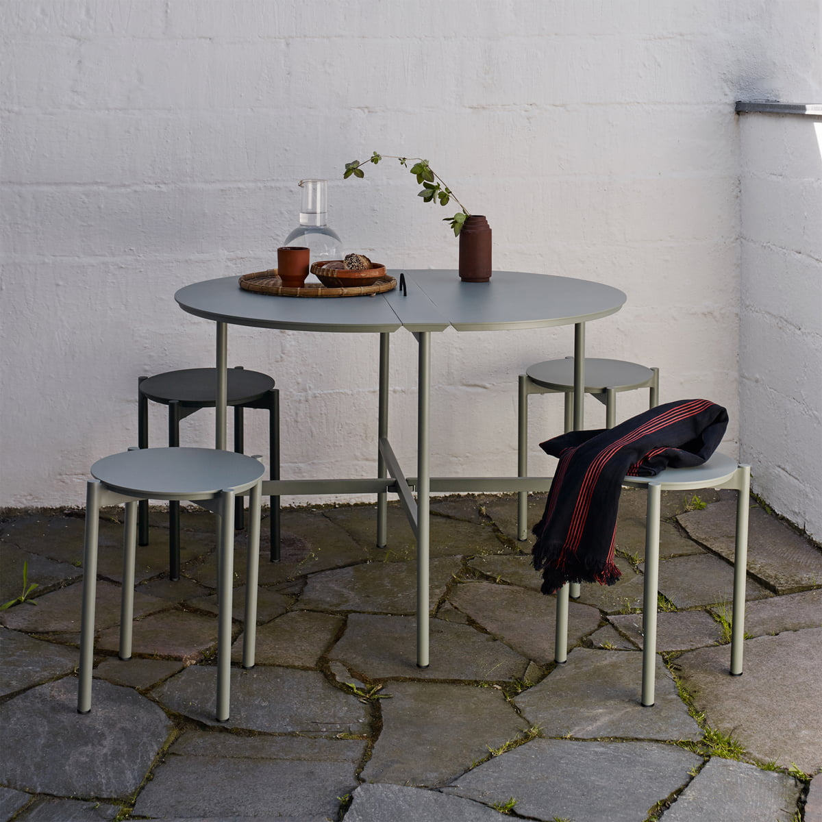 c485f093907 The Skaterak - Picnic Table and Picnic Stool in Slate Grey on the Terrace.