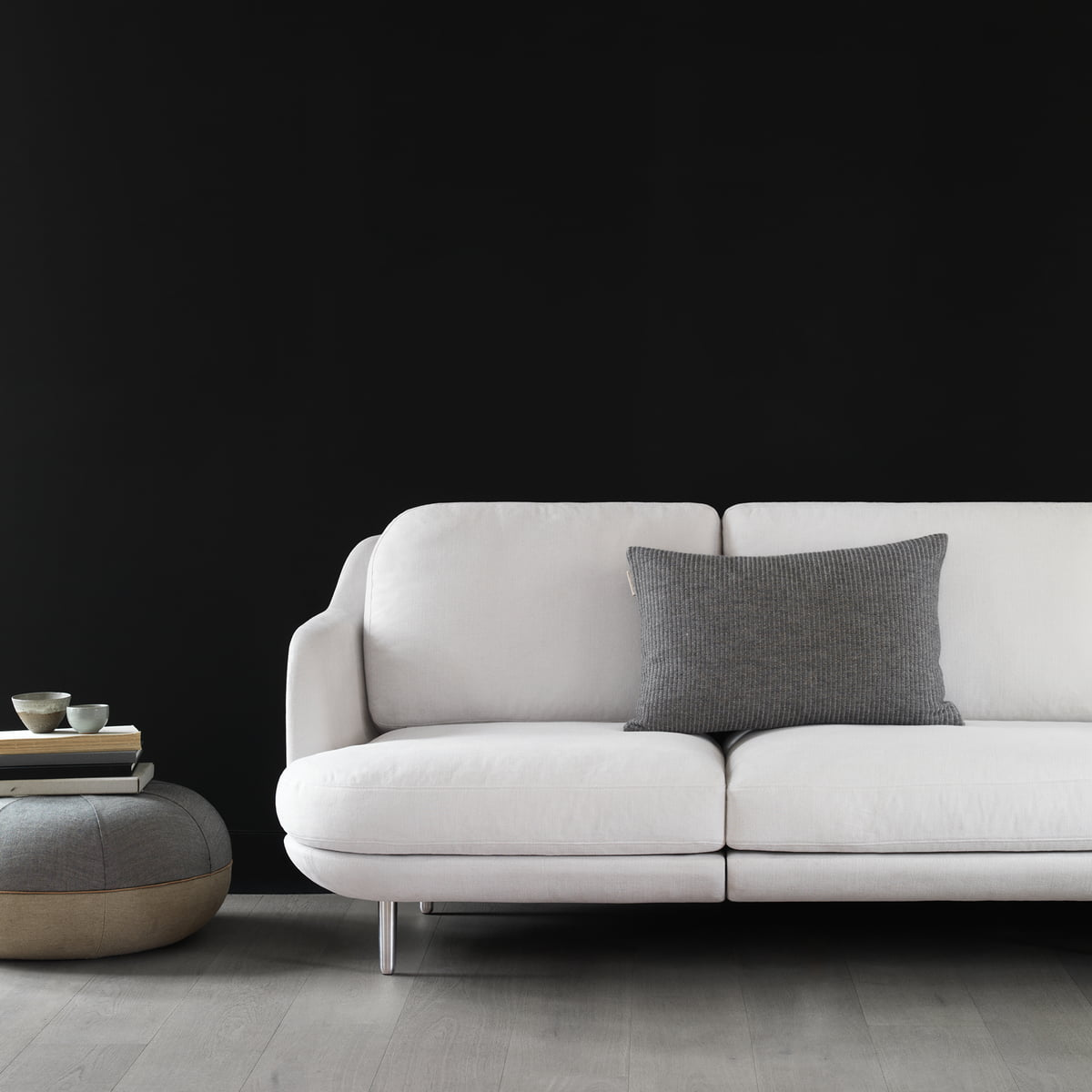 The Fritz Hansen   Pouf By Cecilie Manz Next To The Sofa