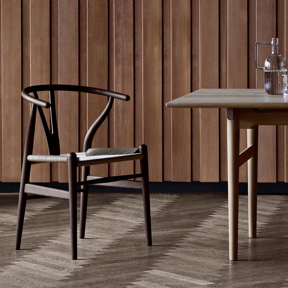The Carl Hansen   CH24 Wishbone Chair, Dark Oak / Natural Wicker