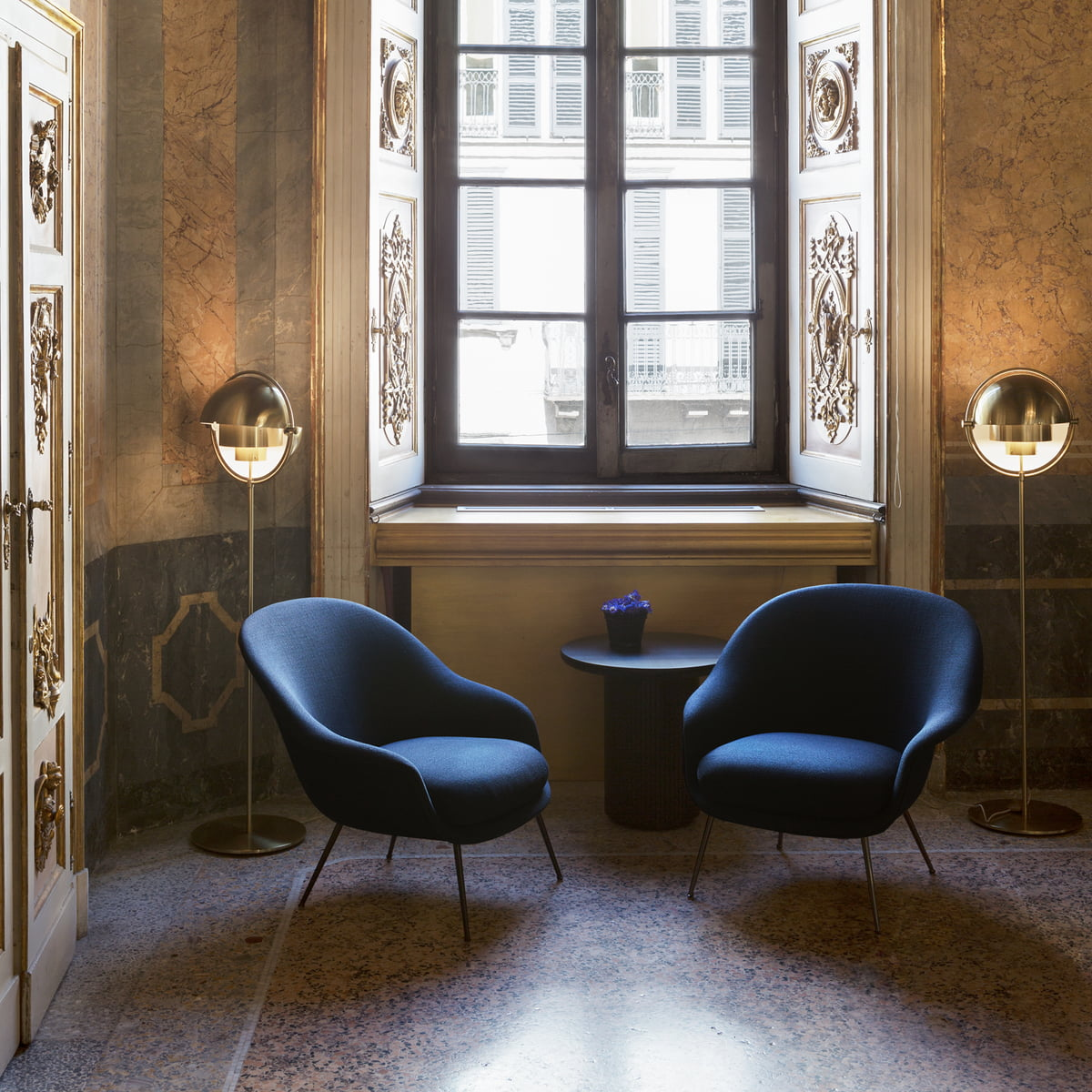 Moon Table Bat Lounge Chair And Multi Lite Floor Lamp By Gubi