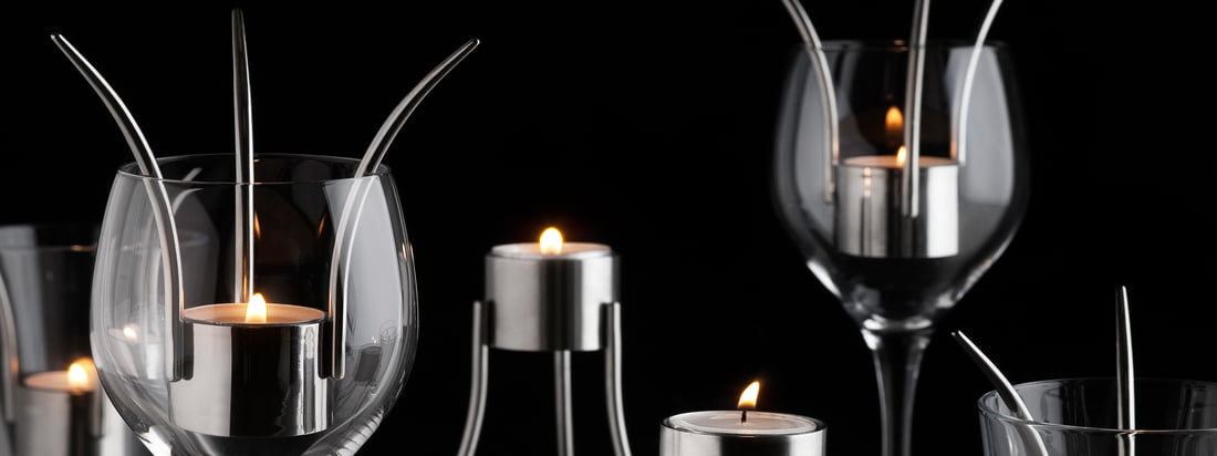 Born in Sweden is the producer from the innovative Tea Light Holder which can be used as table lantern in a wine glass too. Expressive design meets discreet light.