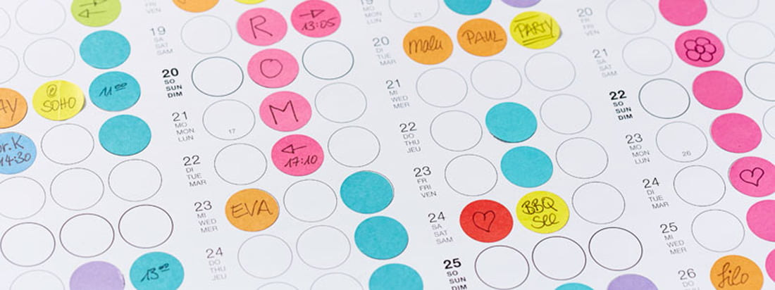 The dot on Planner, produced by Dotty Edition, stands out due to the colourful, circular adhesive dots. They can be used to note birthdays and other appointments.
