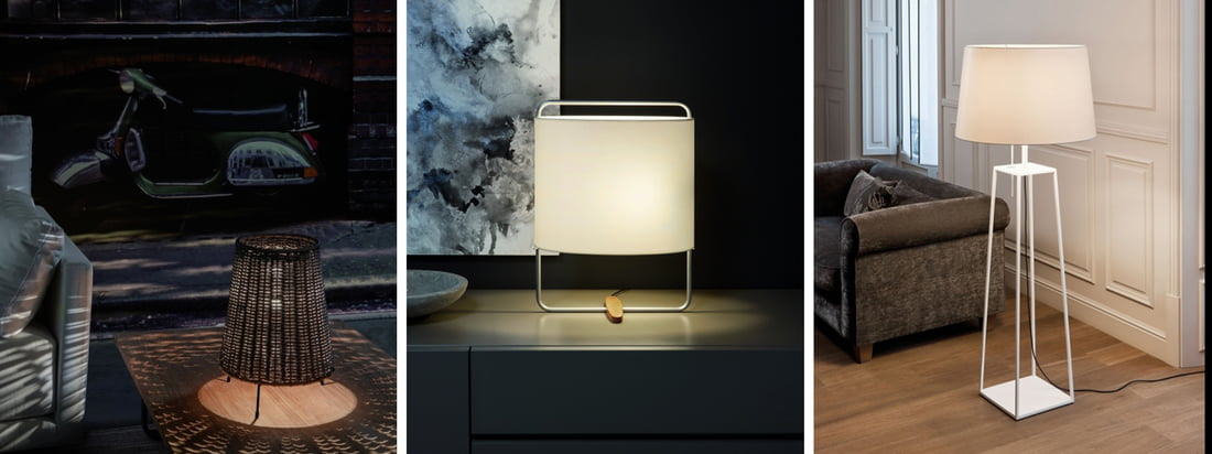 Carpyen is a Spanish lamp manufacturer. The Totora Ground Light is available with a red lampshade which evokes a sinister atmosphere in front of a dark wall.
