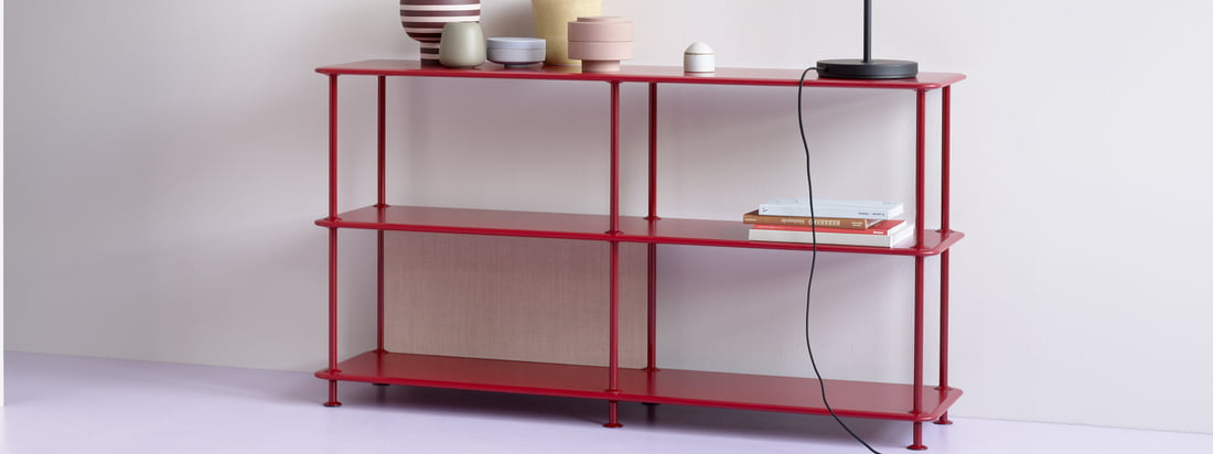 The shelf 220000 is two compartments wide and three shelves high. For books, files, crockery, pots, towels and even shoes, the shelf looks good in any room and becomes a functional and decorative eye-catcher.