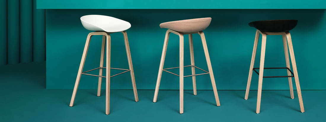 About A Stool AAS32 has a polypropylene seat shell, the frame is made of beech plywood, which is available with different combinations of veneers and footrests.
