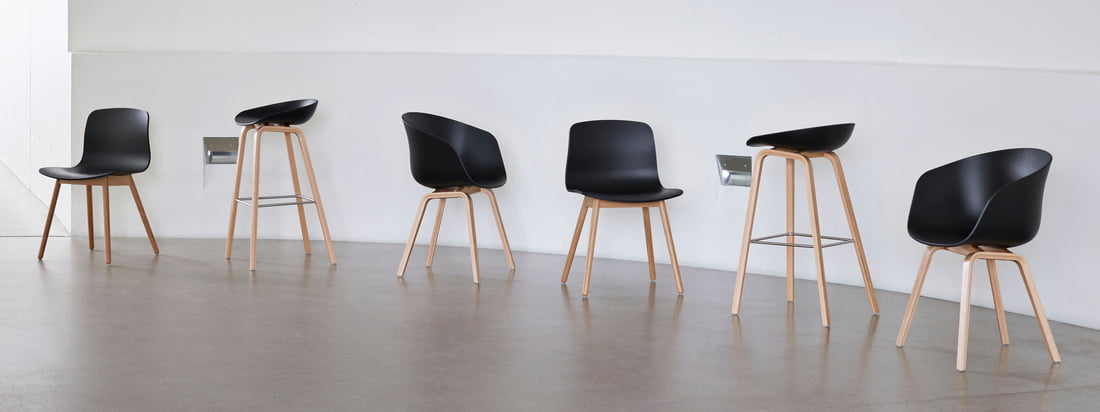 The About A Chair series by the Danish design studio Hay is one of the best known and most popular seating furniture series worldwide. The About A Eco series by Hay now goes one step further: recycled polypropylene (PP) is used for the production.