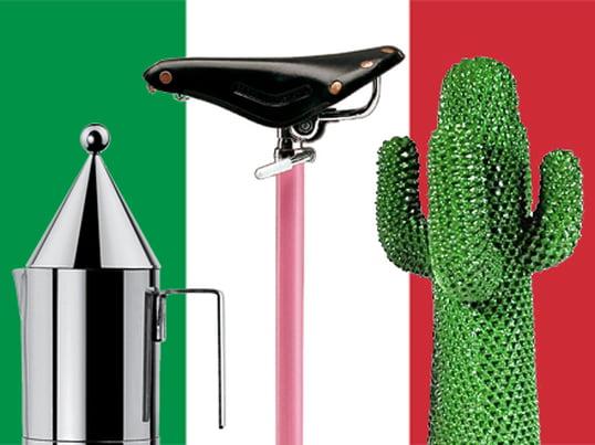 The Espresso cooker La Conica by Officina Alessi, the Sella Stool by Zanotta and the Gufram - Cactus are famous Italian Design Classic of the 20th century.