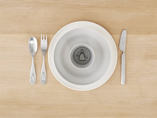 The Design Letters - AJ Melamine cutlery set includes fork, knife, spoon and teaspoon. It is in typography design made of melamine. Designed by Arne Jacobsen.