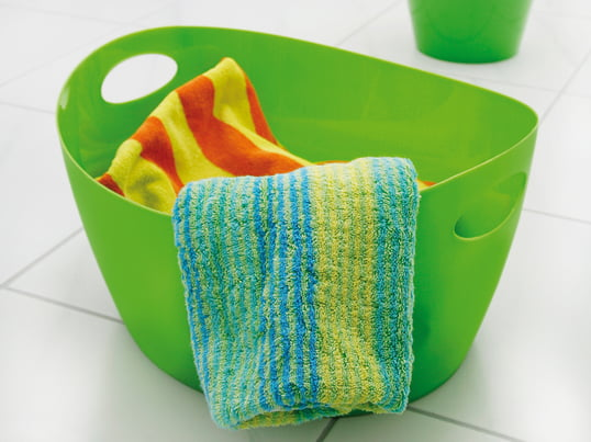 Whether as organizer in the bedroom, laundry basket or washtub for the bathroom - the colourful Bottichelli of Koziol is ideally suited for the storage of various things. The robust and stable material polypropylene makes the storage basket to a durable Companion.