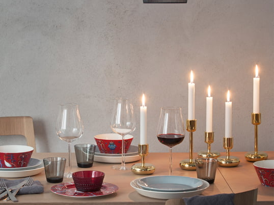 The Taike dinnerware series by the Finnish company Iittala is mystical and colourful.The extremely decorative pattern was designed by Klaus Haapaniemi.