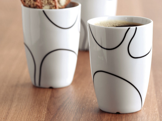 The porcelain cup by Menu has a hand-drawn motif emphasises the symbiosis of form between Japanese minimalism and cool Scandinavian tranquillity and is available in three sizes.
