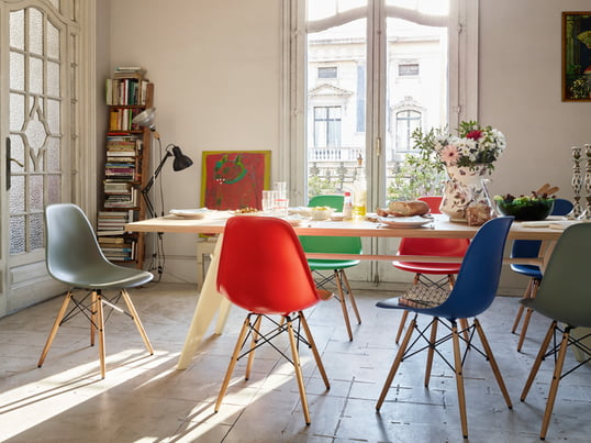 The Eames Plastic Side Chair is a classic and was designed by Charles and Ray Eames in 1950 and is the contemporary adaptation of the legendary Fibreglass Chair.