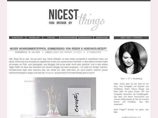 """Vera explains about interior design, food, photography and DIY on """"Nicest Things"""". You can read everything about these topics and some little stories from her daily life on her blog."""