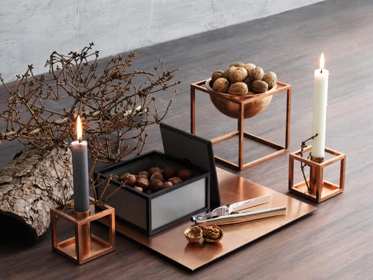 Leant towards the Bauhaus principle Morgens Lassen designed the cube shape as a candlestick and a decorative bowl. Nowadays the cubes are made in Denmark of various materials and in different sizes.