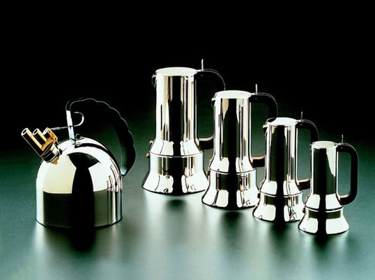 The elegant espresso maker by Alessi enthuses with its distinctive design and the variety of sizes. A matching kettle with a polished stainless steel finish is also available.