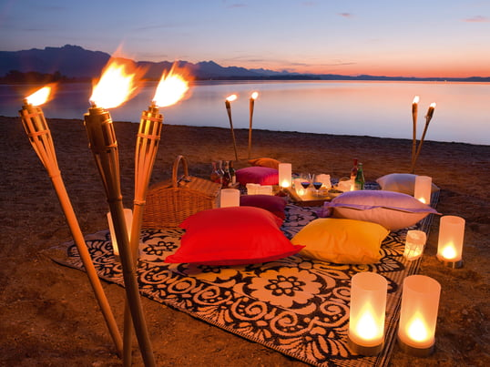 Outdoor Candle Light Dinner on the Beach