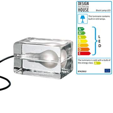 Design House Stockholm - Block Lamp LED in glass / black
