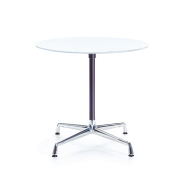 Contract table round, melamine white / chrome, basic dark by Vitra