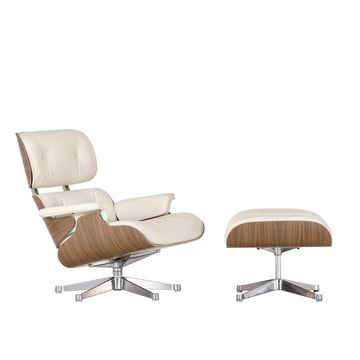 Vitra Lounge Chair + Ottoman - Walnut, white, polished