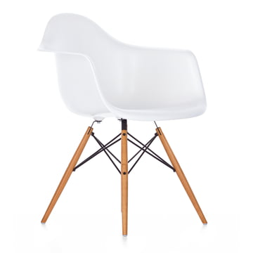 Vitra - Eames Plastic Armchair DAW, yellowish maple / white, felt glides