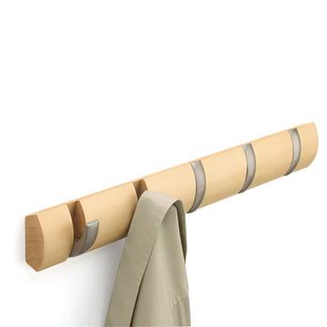 Umbra - Flip Coat Rail 5 Hooks in natural colour