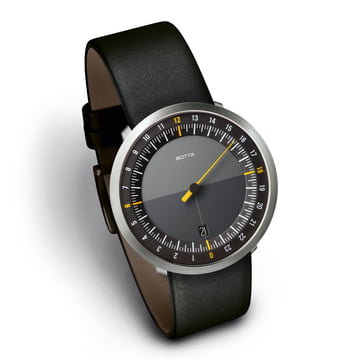 Botta-design Uno24 - black / leather strap