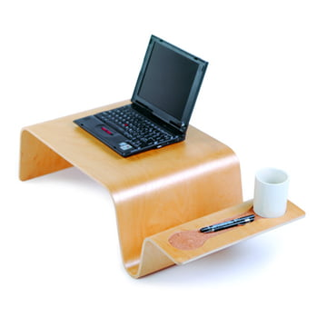Offi - Overlap Tray, birch with Laptop and Cup