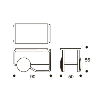 Technical draft with dimensions of the 901 Trolley by Artek