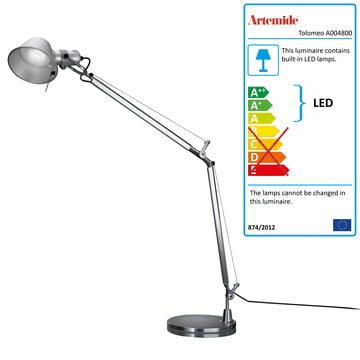 Artemide Tolomeo - Tavolo LED, alu-solver