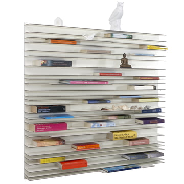 spectrum - Paperback shelving system made of white lacquered MDF boards