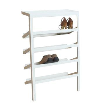 Mox - Mila Shoe Rack, oak wood / shiny white