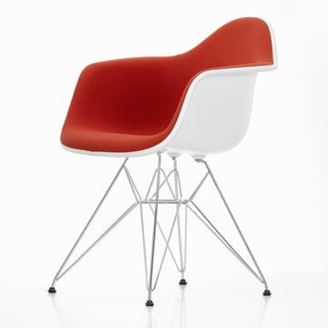 Eames Plastic Armchair DAR - Full Upholstery, Hopsak red/orange