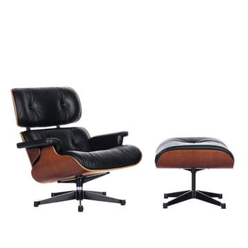 Vitra - Lounge Chair & Ottoman, polished/black, cherry wood